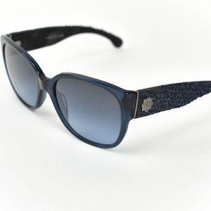 CHANEL: Navy Blue, Tweed & CC Logo Sunglasses (df)